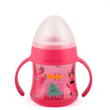 Suavinex - FIRST- BOTTLE WITH HANDLES-NON SPILL SPOUT +4M rosa  (monster)